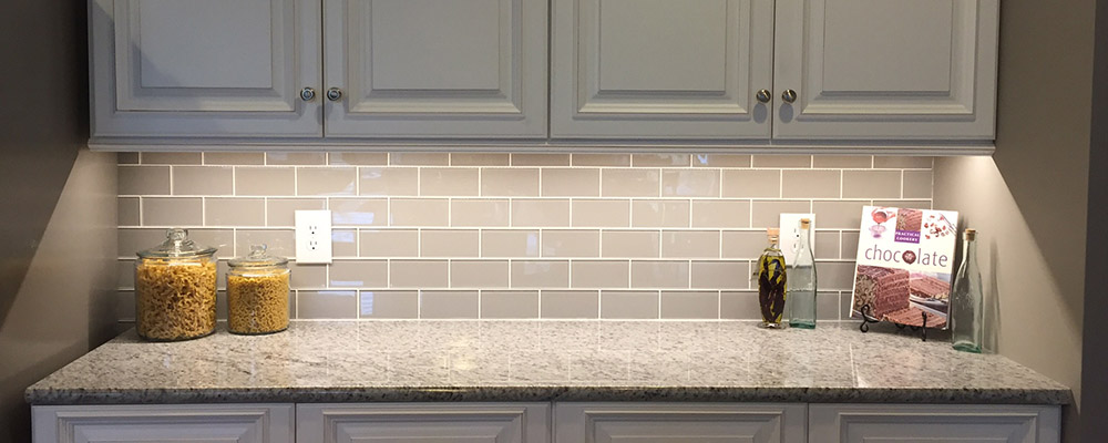 Grey subway tile backsplash. Kitchen