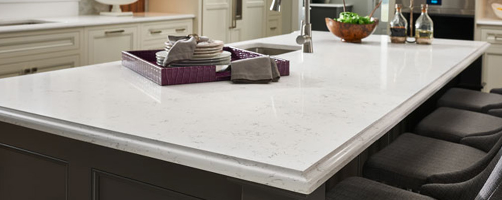 White Quartz countertop island.