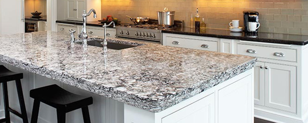 Kitchen countertop. white island and cabinets.