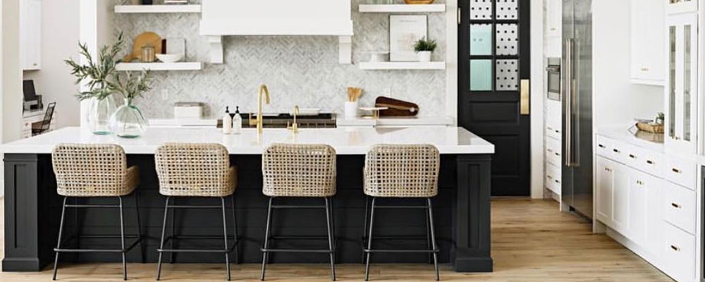 black and white two tone kitchen